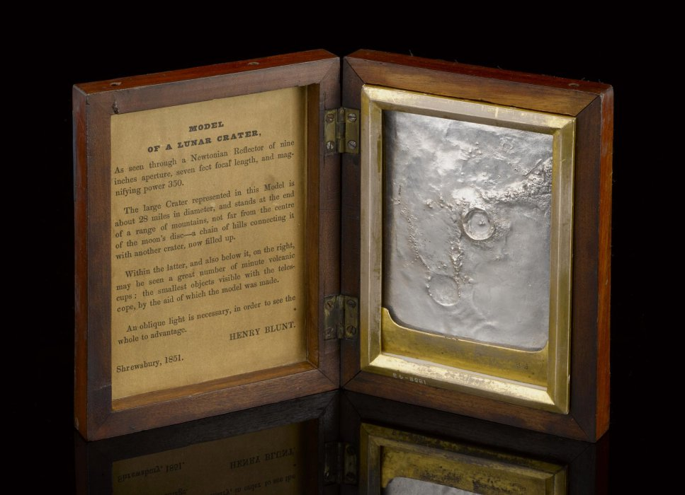 Silver electrotype copy of a plaster model showing the lunar crater Eratosthenes, in hinged case