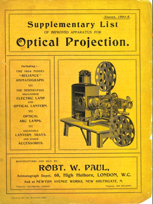 Catalogue of Paul's projection apparatus