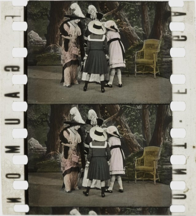 Frames of stencil colour film showing two women and two children