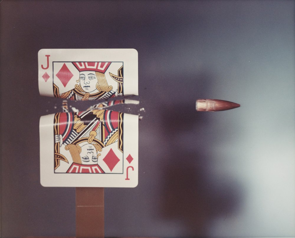 Jack of Diamonds playing card hit by a .30 calibre bullet, 1970, by Dr Harold Edgerton, one of the images featured in our history of photography