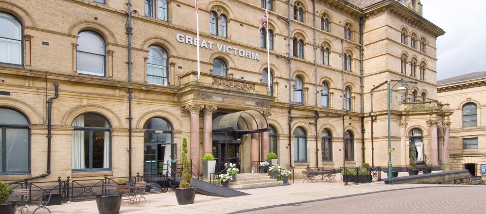 The entrance of the Great Victoria Hotel in Bradford