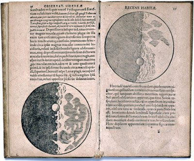 Pages from Galileo's Sidereus Nuncius featuring detailed illustrations of the Moon