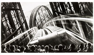 Promotional image for Cinerama showing rollercoaster on a cinema screen