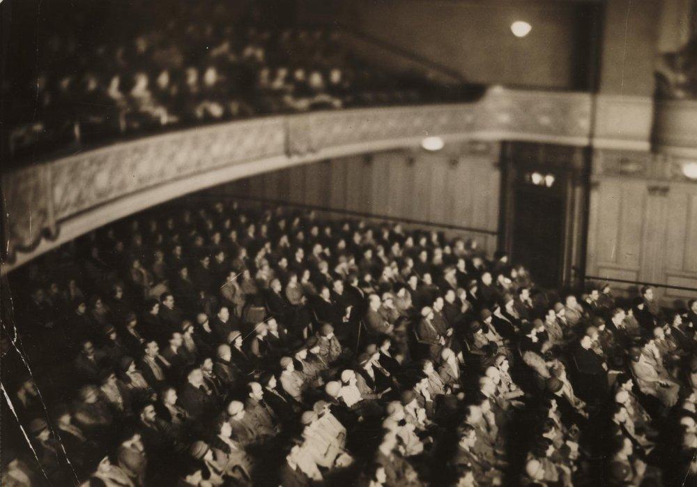 Large cinema audience in auditorium